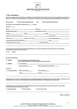 Aufnahmefragebogen Meisterschule für Mode